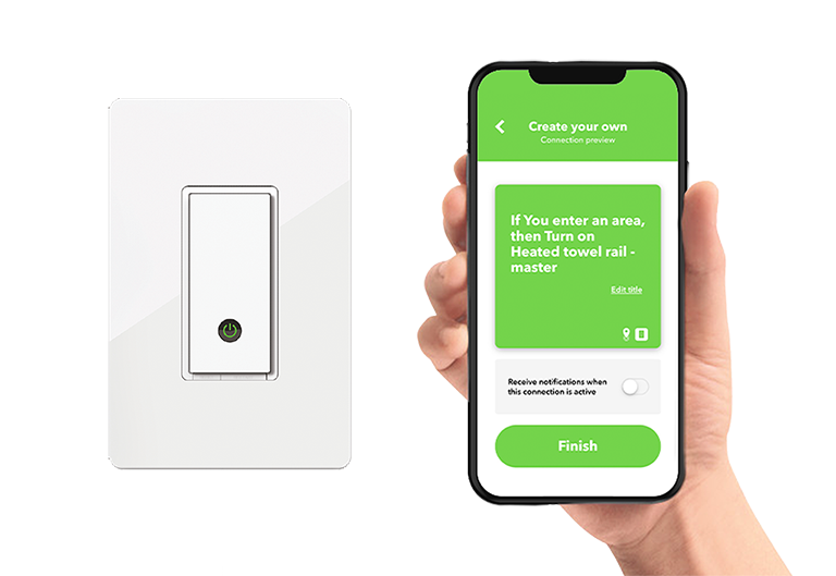 Heated towel racks connected with WEMO Wi-Fi enabled switch, control from your mobile device