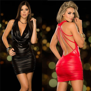 Babydoll Lingerie Sexy Hot Erotic Lingerie For Women Latex Leather Backless Night Clubwear Pole Dance Dress Sexy Costumes - Midnight Fantasy AU