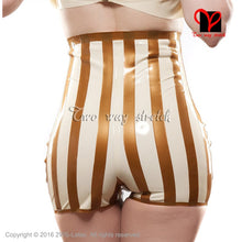 Load image into Gallery viewer, Sexy Latex Briefs With Bows White with gold trims  Underwear shorts Sexy high rise undies thong Rubber Underpants KZ-125 - Midnight Fantasy AU