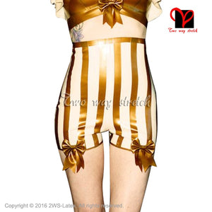 Sexy Latex Briefs With Bows White with gold trims  Underwear shorts Sexy high rise undies thong Rubber Underpants KZ-125 - Midnight Fantasy AU