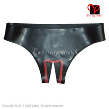 Load image into Gallery viewer, Black and red trims Sexy Latex underwear crotchless Rubber Briefs shorts knickers Rubbe undies bottoms KZ-123 - Midnight Fantasy AU