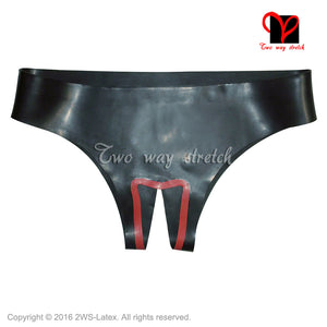 Black and red trims Sexy Latex underwear crotchless Rubber Briefs shorts knickers Rubbe undies bottoms KZ-123 - Midnight Fantasy AU
