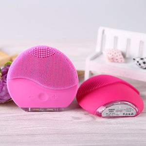 Mini Electric Silicone Facial Cleansing Face Washing Brush Pore Cleaner Sonic Vibration Massage Beauty Spa Face Skin Care Tool - Midnight Fantasy AU