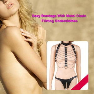 Sexy Bondage With Metal Chain Creative Collar Neck Cuff Body Flirting Underclothes BDSM Bondage Sex Toys For Woman Erotic Clothing Adult Products - Midnight Fantasy AU