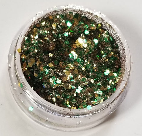 shade beauty, indie makeup, cruelty free, vegan, chunky glitter, gold glitter, green glitter, disfigurine, alex cruz, collaboration, indie beauty, green chunky glitter, gold chunky glitter, festival makeup