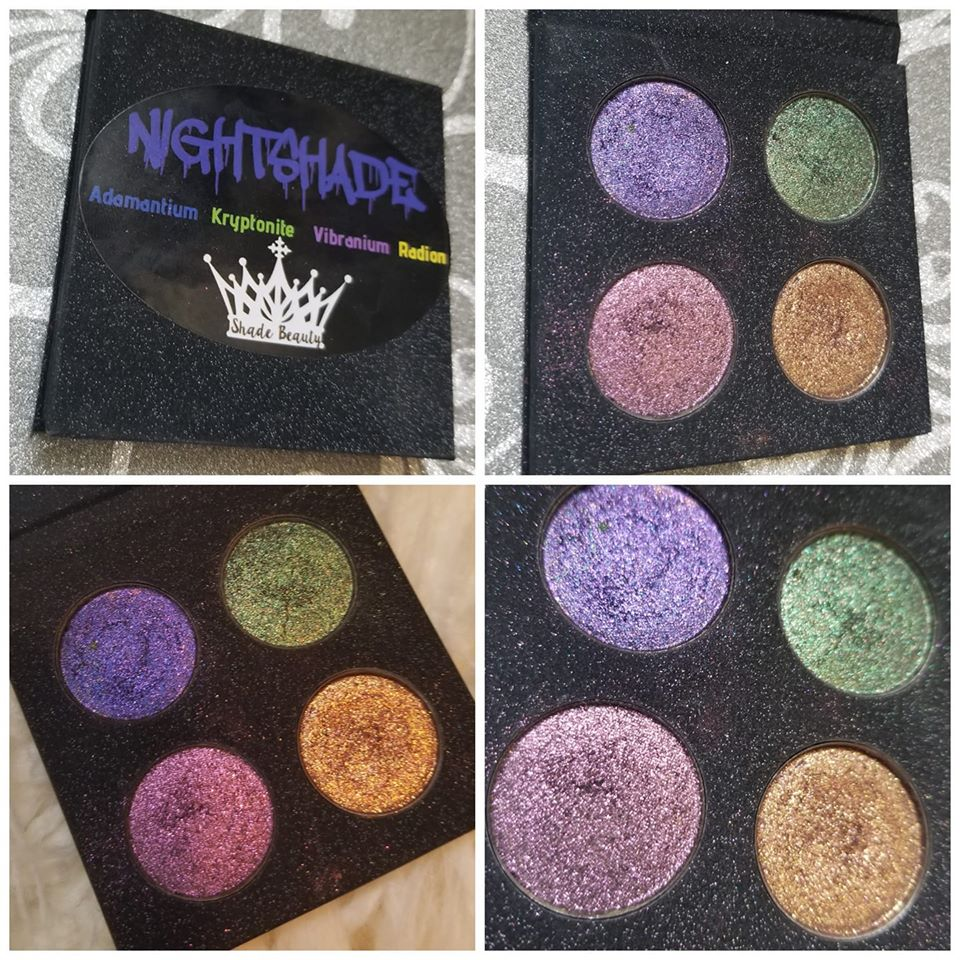 shade beauty, indie makeup, indie beauty, cruelty free, vegan, eyeshadow palette, cruelty free eyeshadow palette, vegan eyeshadow palette, glitter eyeshadow, metallic eyeshadow, sparkly eyeshadow, nightshade, adamantium, kryptonite, vibranium, radion