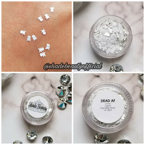 shade beauty, glitter, sparkle, shine, glimmer, best glitters, cruelty free, vegan, eye safe glitter, body glitter, festival makeup, loose glitter, dead af, deaf af glitter, chunky glitter, skull glitter, white glitter, limited edition, halloween glitter, crossbones glitter, halloween makeup, halloween makeup ideas