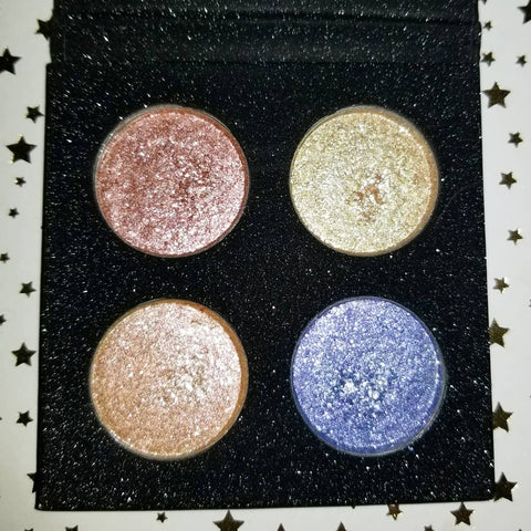 shade beauty, eyeshadow, vegan makeup, cruelty free makeup, swatches, eyeshadow toppers, glittery eyeshadow, sparkly eyeshadow, shimmery eyeshadow, eyeshadow palette, the big top palette, fire breather, ringmaster, lion tamer, contortionist, red, yellow, gold, orange, blue