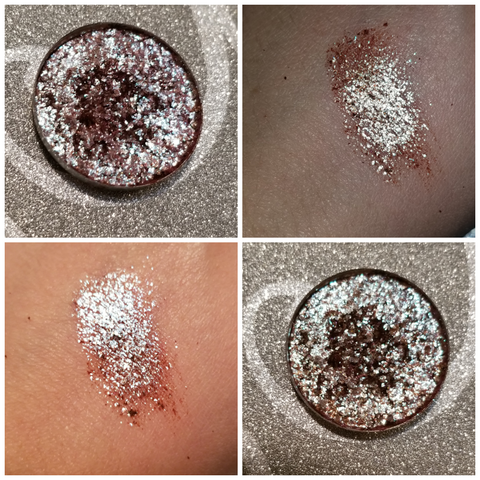 shade beauty, cruelty free, vegan, indie makeup, pressed glitter, duochrome glitter, phoenix, loose glitter, blue glitter, red glitter, green glitter