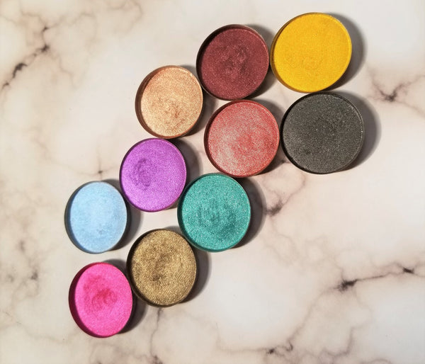 shade beauty, eyeshadow, vegan makeup, cruelty free makeup, swatches, shimmery eyeshadow, sparkly eyeshadow, metallic eyeshadow, neutral eyeshadow, nude eyeshadow, indie makeup, artisan makeup, feelin' salty, feelin' salty pressed eyeshadow, green eyeshadow, teal eyeshadow, aqua eyeshadow