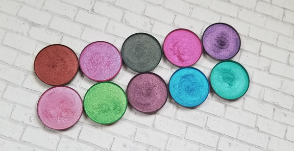 shade beauty, eyeshadow, vegan makeup, cruelty free makeup, swatches, shimmery eyeshadow, sparkly eyeshadow, metallic eyeshadow, neutral eyeshadow, nude eyeshadow, indie makeup, artisan makeup, pink panther, pink panther pressed eyeshadow, pink eyeshadow, hot pink eyeshadow, neon pink eyeshadow, colorful eyeshadow