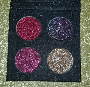 shade beauty, glitter, sparkle, shine, glimmer, best glitters, cruelty free, vegan, eye safe glitter, body glitter, festival makeup, loose glitter, dawn palette, pressed glitter palette, red glitter, purple glitter, pink glitter, gold glitter