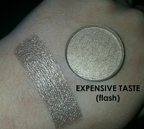 shade beauty, eyeshadow, vegan makeup, cruelty free makeup, swatches, shimmery eyeshadow, sparkly eyeshadow, metallic eyeshadow, neutral eyeshadow, nude eyeshadow, indie makeup, artisan makeup, expensive taste, expensive taste pressed eyeshadow, metallic eyeshadow, gold eyeshadow, bronze eyeshadow