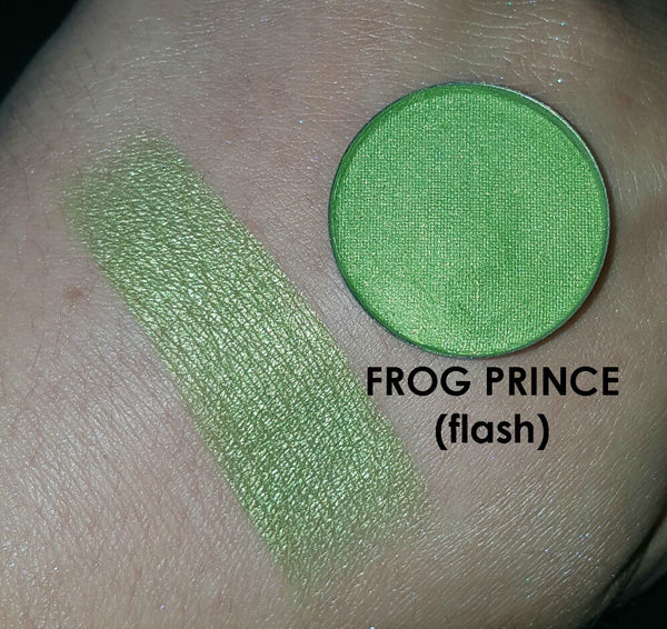 shade beauty, eyeshadow, vegan makeup, cruelty free makeup, swatches, shimmery eyeshadow, sparkly eyeshadow, metallic eyeshadow, neutral eyeshadow, nude eyeshadow, indie makeup, artisan makeup, frog prince, frog prince pressed eyeshadow, green eyeshadow, lime eyeshadow