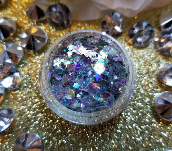 indie makeup, shade beauty, cruelty free, vegan, festival makeup, chunky glitter, holographic glitter, square glitter, hexagon glitter, gold glitter, gold chunky glitter, christmas makeup, pegasus, pegasus chunky glitter, star glitter, nail glitter, face glitter, face painting