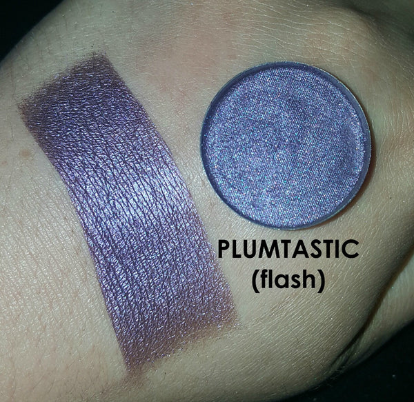 shade beauty, eyeshadow, vegan makeup, cruelty free makeup, swatches, shimmery eyeshadow, sparkly eyeshadow, metallic eyeshadow, neutral eyeshadow, nude eyeshadow, indie makeup, artisan makeup, plumtastic, plumtastic pressed eyeshadow, purple eyeshadow