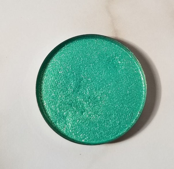 shade beauty, eyeshadow, vegan makeup, cruelty free makeup, swatches, shimmery eyeshadow, sparkly eyeshadow, metallic eyeshadow, neutral eyeshadow, nude eyeshadow, indie makeup, artisan makeup, shell yeah, shell yeah pressed eyeshadow, green eyeshadow, sea foam eyeshadow, colorful eyeshadow, bright eyeshadow