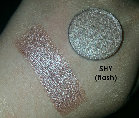 shade beauty, eyeshadow, vegan makeup, cruelty free makeup, swatches, shimmery eyeshadow, sparkly eyeshadow, metallic eyeshadow, neutral eyeshadow, nude eyeshadow, indie makeup, artisan makeup, shy, shy pressed eyeshadow, pink eyeshadow