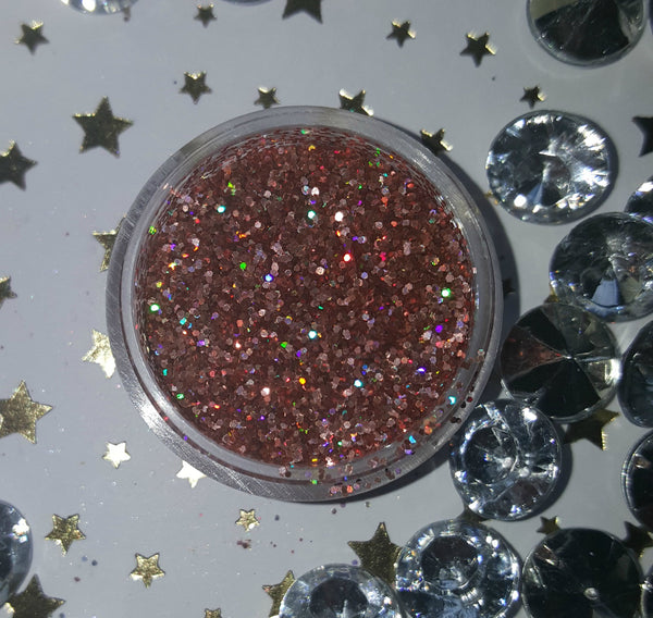 shade beauty, indie makeup, indie brand, handmade, artisan, made in the usa, made in michigan, cruelty free, vegan, glitter, loose glitter, festival makeup, orange glitter, starfire, starfire loose glitter, holographic glitter, holographic orange glitter