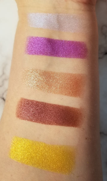shade beauty, eyeshadow, vegan makeup, cruelty free makeup, swatches, shimmery eyeshadow, sparkly eyeshadow, metallic eyeshadow, neutral eyeshadow, nude eyeshadow, indie makeup, artisan makeup, mimosa, mimosa pressed eyeshadow, yellow eyeshadow, bright eyeshadow, gold eyeshadow