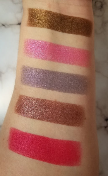 shade beauty, eyeshadow, vegan makeup, cruelty free makeup, swatches, shimmery eyeshadow, sparkly eyeshadow, metallic eyeshadow, neutral eyeshadow, nude eyeshadow, indie makeup, artisan makeup, strawberry milkshake, strawberry milkshake pressed eyeshadow, duochrome eyeshadow, pink eyeshadow, purple eyeshadow