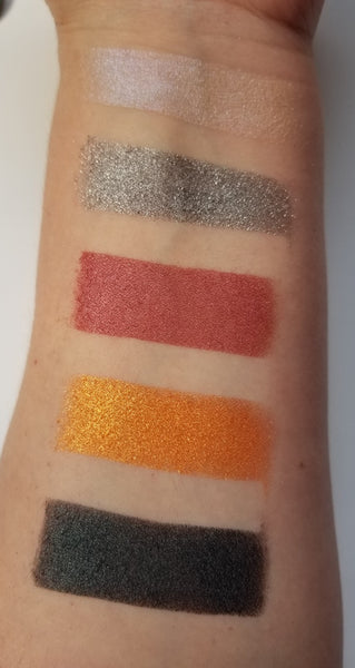 shade beauty, eyeshadow, vegan makeup, cruelty free makeup, swatches, gray eyeshadow, silver eyeshadow, sparkly eyeshadow, glitter eyeshadow, badabing badaboom