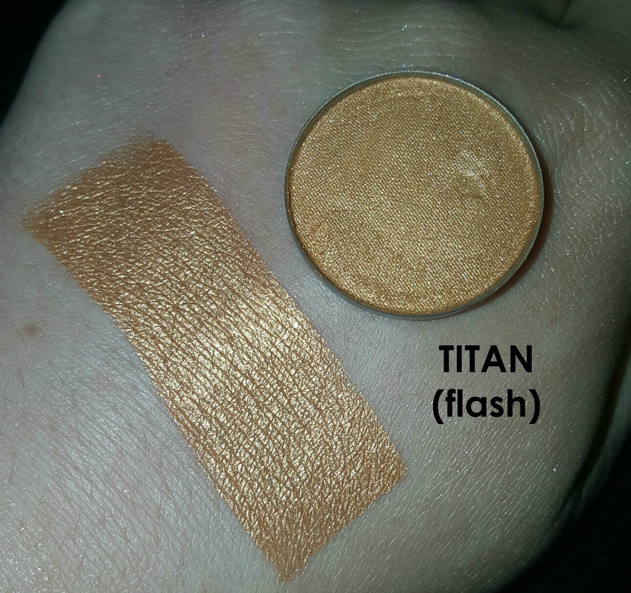 shade beauty, eyeshadow, vegan makeup, cruelty free makeup, swatches, shimmery eyeshadow, sparkly eyeshadow, metallic eyeshadow, neutral eyeshadow, nude eyeshadow, indie makeup, artisan makeup, titan, titan pressed eyeshadow, orange eyeshadow, bronze eyeshadow, brassy eyeshadow