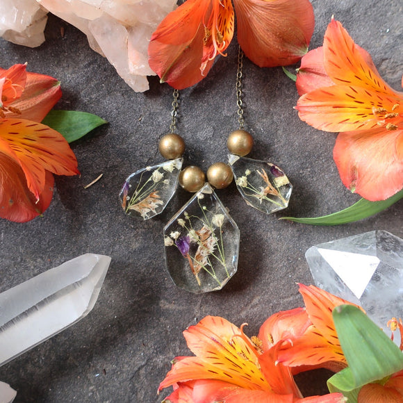 Dried Flower Resin Necklaces