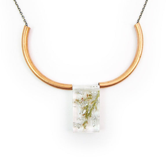 Geometric Flower Pendant and Rosy Copper Necklace