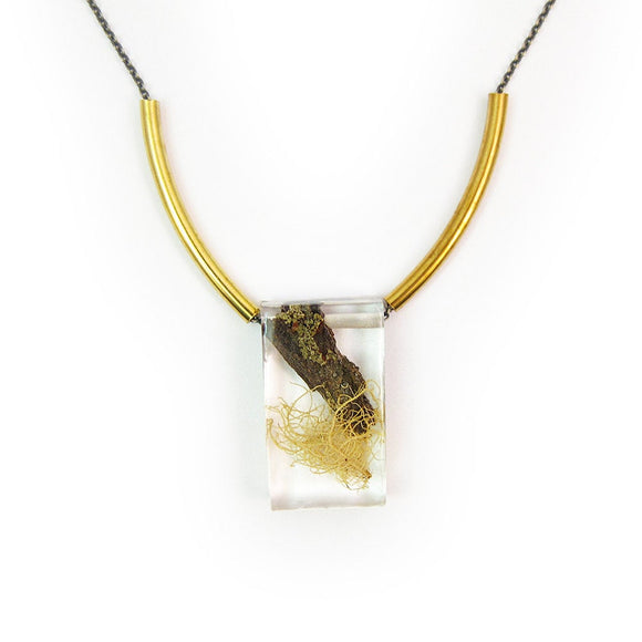 Terrarium Rectangle Bead and Brass Necklace