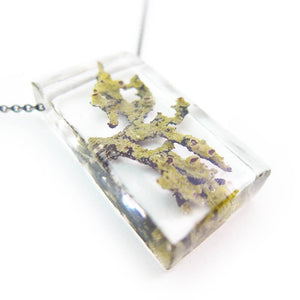 Moss and Lichen Terrarium Rectangle Necklace
