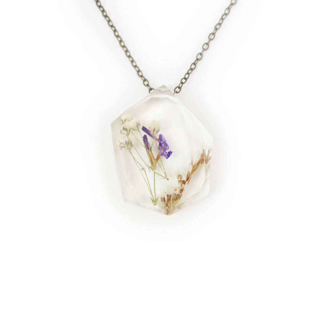 Real Dried Flower Eco Resin Necklace