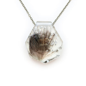 Feather in Resin and Silver Leaf Necklace | 006