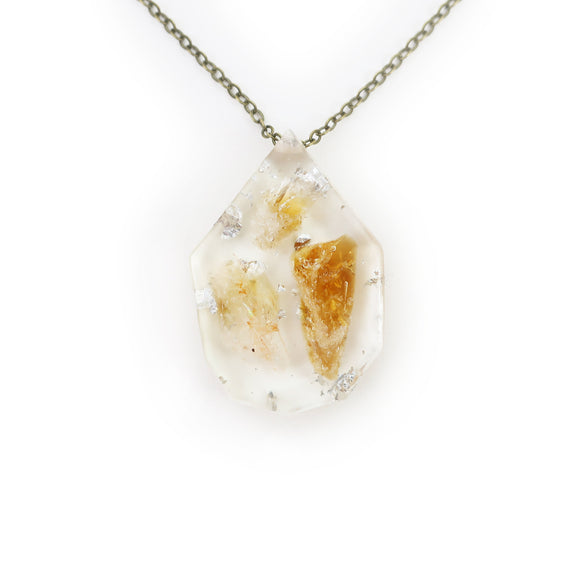 Citrine and Silver Leaf Eco Resin Pendant | 006