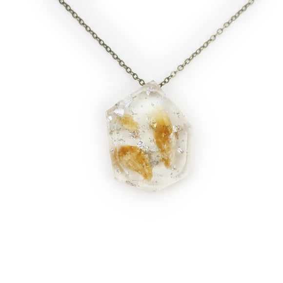 Citrine and Silver Leaf Eco Resin Pendant | 008