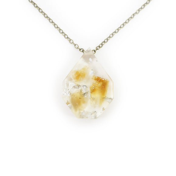 Citrine and Silver Leaf Eco Resin Pendant | 007
