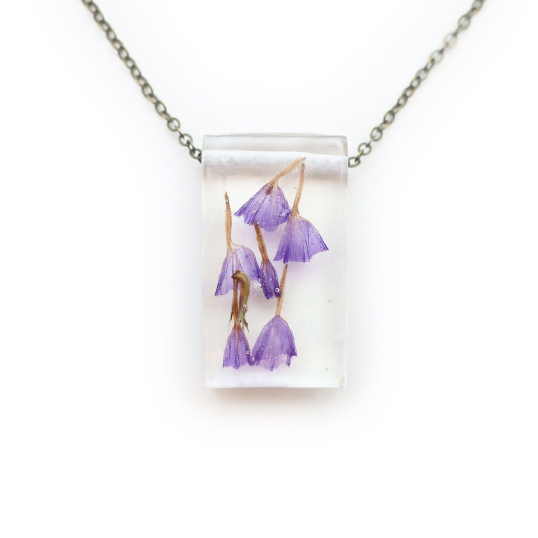 Dried Purple Flower Eco Resin Botanical Necklace