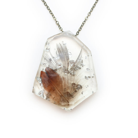 Feather in Resin and Silver Leaf Necklace | 004