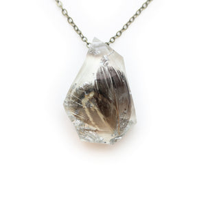 Feather and Silver Leaf Resin Geometric Faceted Necklace | 003
