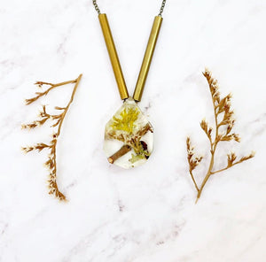 Terrarium and Flower and Brass Tube Necklace