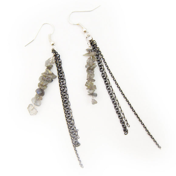 Labradorite Chain and Dangle Earrings