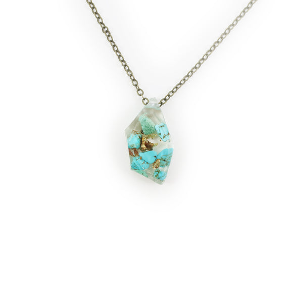 Genuine Turquoise and Gold Flake Eco Resin Necklace | 001