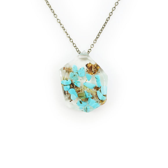 Genuine Turquoise and Gold Flake Eco Resin Necklace | 004