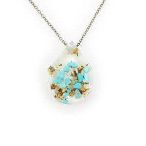 Genuine Turquoise and Gold Flake Eco Resin Necklace | 005