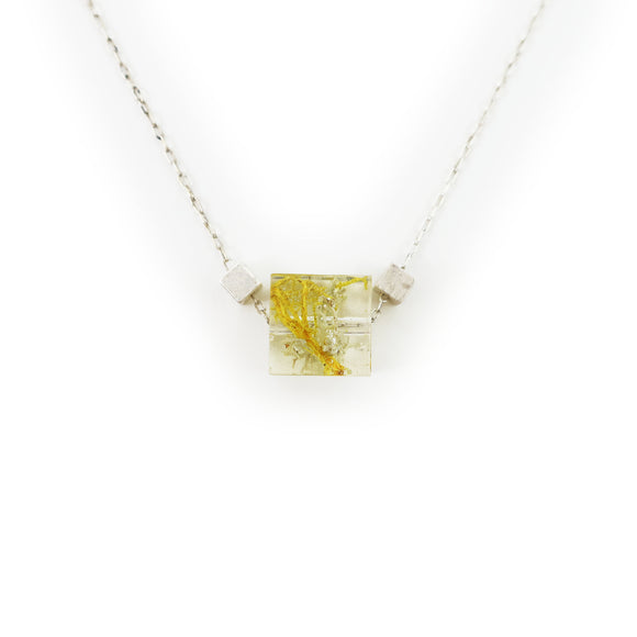 Tiny Minimalist Moss Cube Necklace