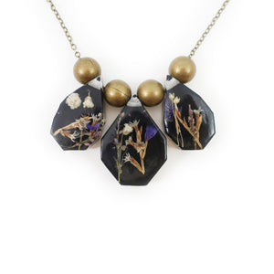 Midnight Flower Statement Resin Herbarium Necklace