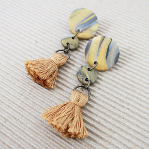 Marble Mustard Tassel Clay Earrings | 002