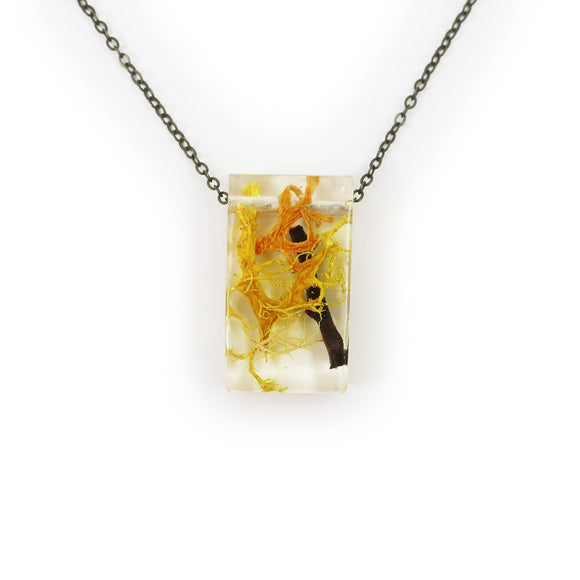 Twiggy Resin Terrarium Rectangle Necklace