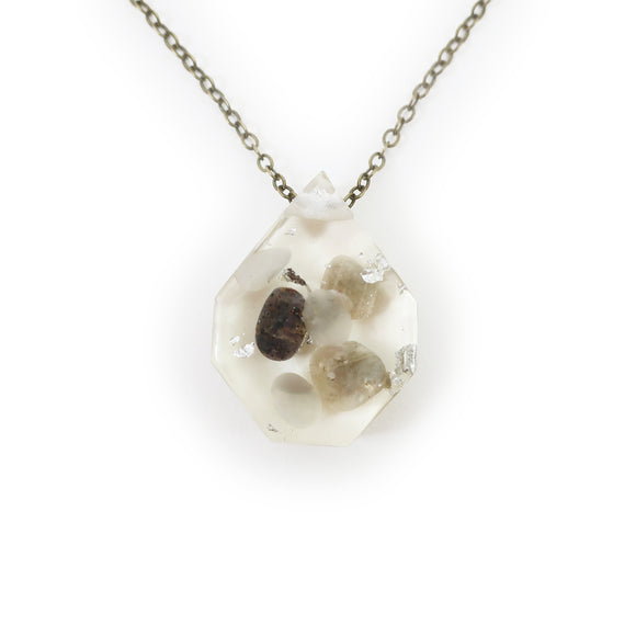 Medium Eco-Resin Tumbled Stone and Silver Leaf Necklace