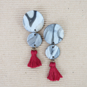 Marble Maroon Tassel Clay Earrings